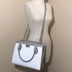 Michael Kors MK Print large bag satchel white